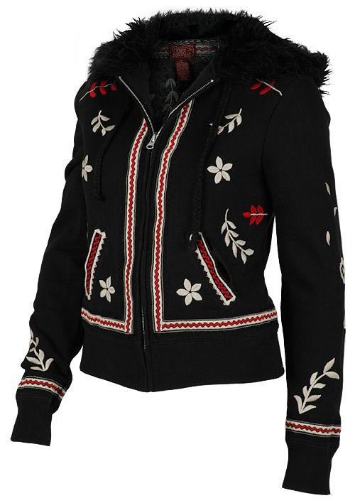 Embroidered Black Fur Hoodie