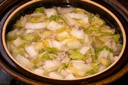 白菜漬けと豚の鍋工程