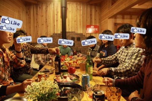 ファイヤーサイドコテージで晩餐会