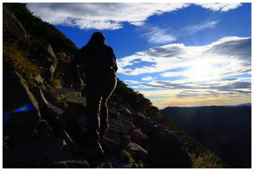 北穂高岳までの登山道