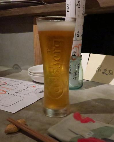 春日部休憩所で生ビール