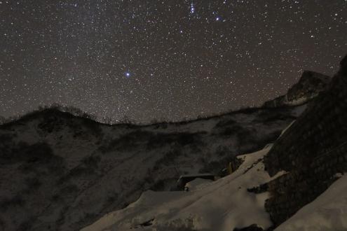 白馬鑓温泉テン場からの星景