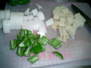 ピーマンと山芋、筍炒め物