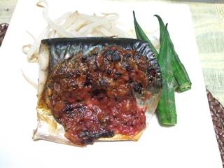 サバの梅味噌焼き