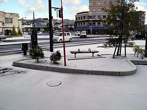 光の事務所前の雪景色