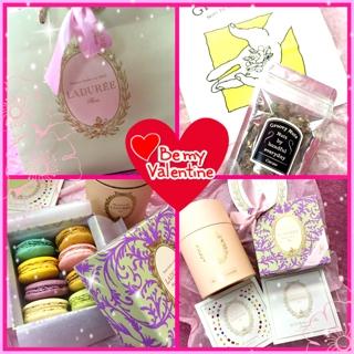 バレンタインギフトを頂きました(*^^*) とても嬉しいです(^^) マカロン、紅茶、ナッツチョコレートと心ときめく品々....Hiroeさん本当に有難うございます。