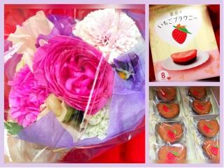 可愛い花籠と美味しいイチゴブラウニー