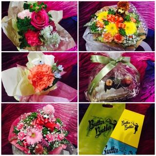 皆様から美しいお花や美味しいお菓子をたくさん頂戴致しました。 応援もして頂き、そしてたくさん祝福をして頂き心より幸せを感じております。2