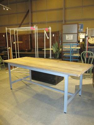 グレーペイント脚×古材天板 作業台テーブル