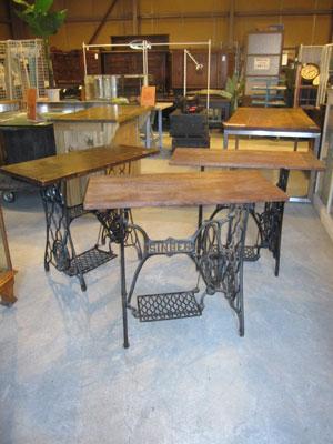 ミシン脚×古材天板 テーブル