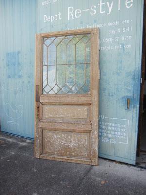 アンティーク シャビーグレー ガラス入りドア