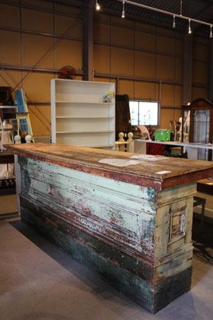 レジ テーブル ディスプレイ台 アンティーク シャビー 木製 什器 カウンター