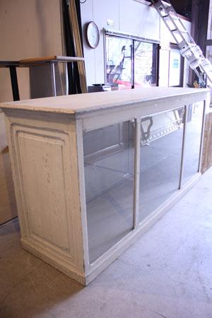 棚 ショーケース テーブル ディスプレイ台 アンティーク シャビー 白