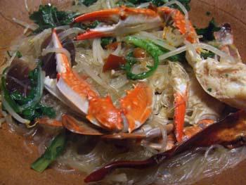 渡り蟹の春雨ピリ辛スープ煮