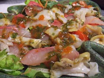 つぶ貝とひらまさのカルパチョ