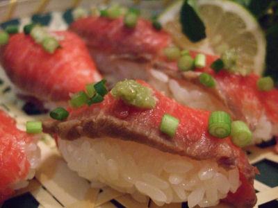 牛のたたきの握り寿司