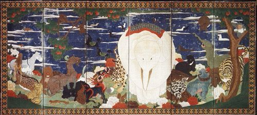 鳥獣花木図屏風-左