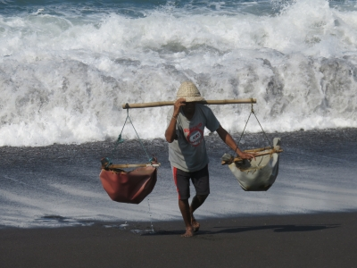海水を汲んで