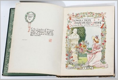 FLOWERS FROM SHAKESPEARES GARDEN by Walter Crane, Cassell & Company