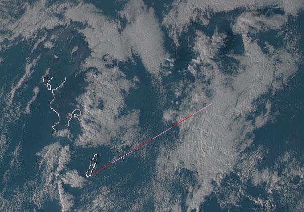 ひまわり8 ロケット雲 写った 夜光雲