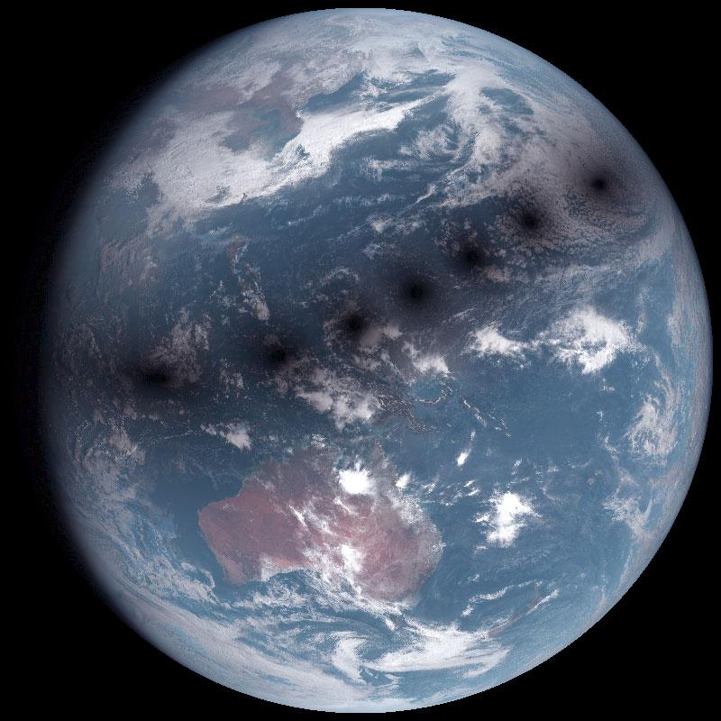 宇宙からみた日食 ひまわり8