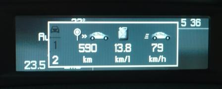Peugeot 407,燃費,MFD