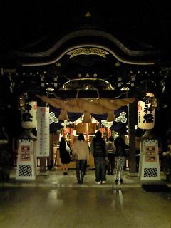 夜空に灯る櫛田神社