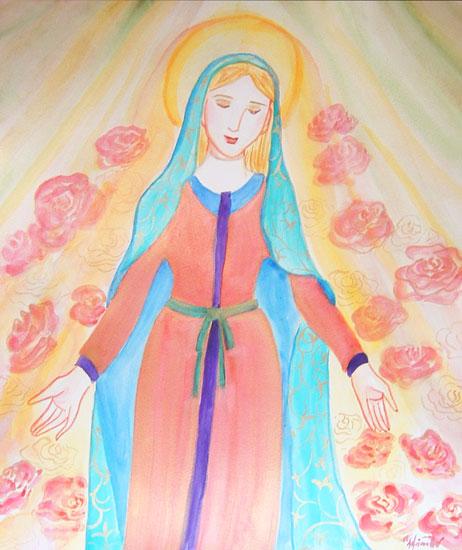 薔薇のマリアtake1  水彩画