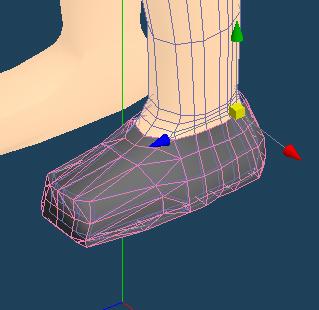 足から靴を作ります。 足のポリゴンがあまりにひどいので修正する気が起きなかったのでこれで良しとします。