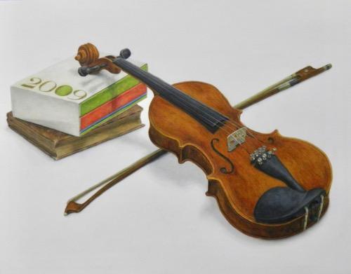 着彩画バイオリン3