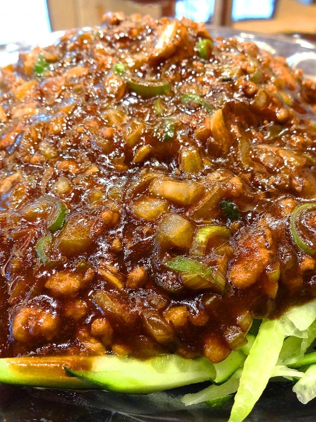 草加の大福源のジャージャー麺のアップ