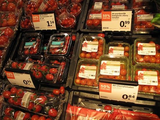 有機トマトの陳列