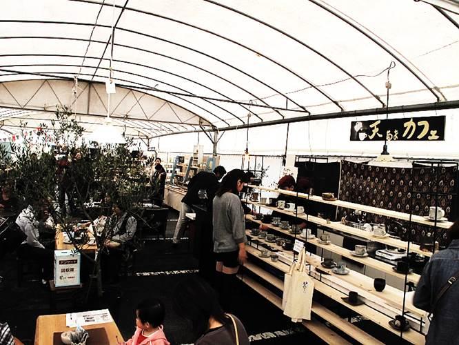 陶磁器展のカフェ