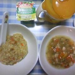 炊き込みご飯+おかゆ&筑前煮&ベビーダノン&麦茶
