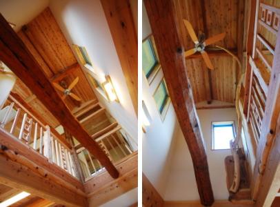 以前住んでいた住まいの梁を再利用。リビングの吹き抜けに納めました。|福岡県朝倉市の三世帯木造注文住宅 木造りの家フォーユー