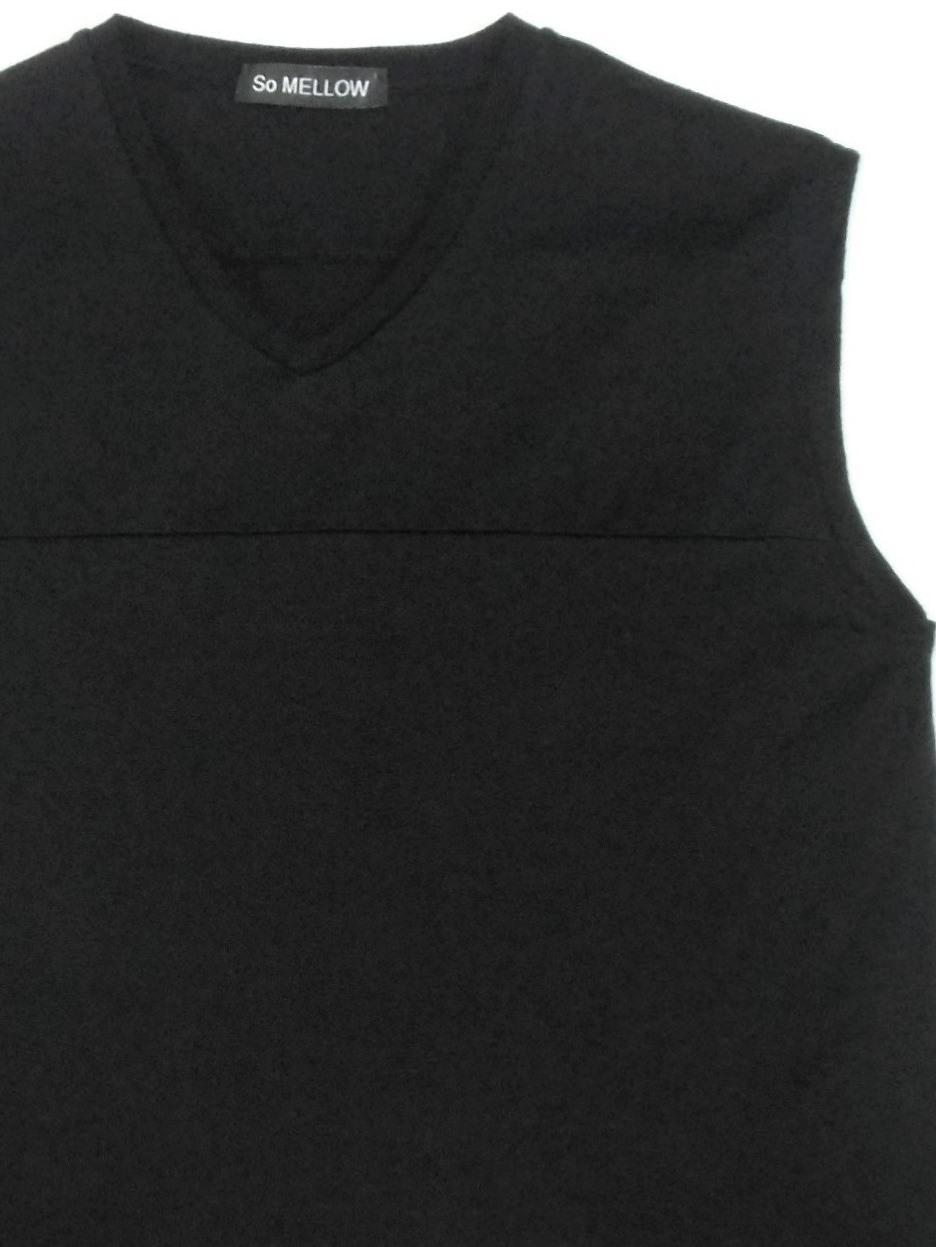 So MELLOW - BLOCKING V-NECK SLEEVELESS T-SHIRT, Men's size