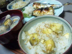 栗ご飯と秋刀魚