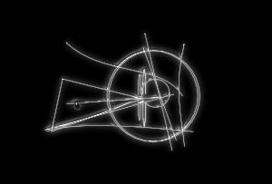 メタリックな丸と三角形