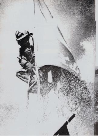 反対同盟旗に包まれて放水に耐える、鉄塔ひっつき虫