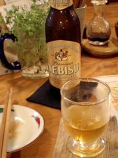定食屋でビール