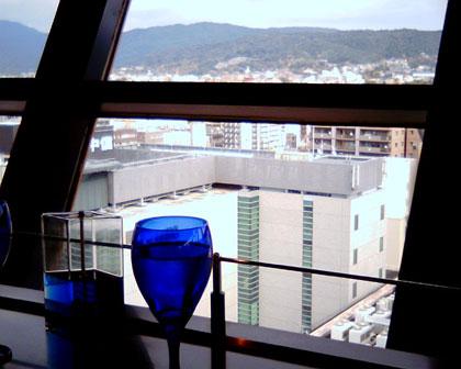 京都タワーのレストランからの眺め