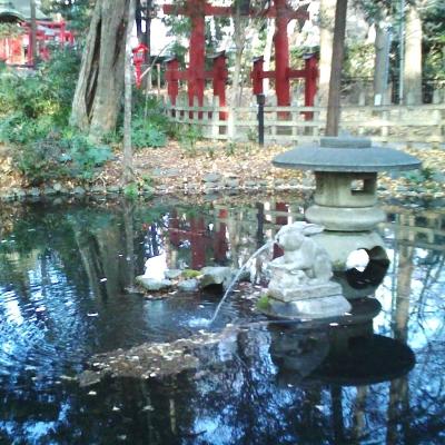 池の中にもうさぎの像がある調神社