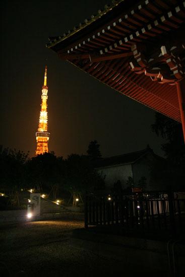 東京タワーにかかる屋根