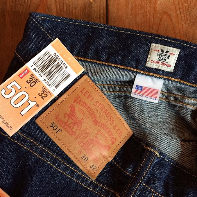 LEVIS 501 MADE IN USA WHITE OAK CONE DENIM
