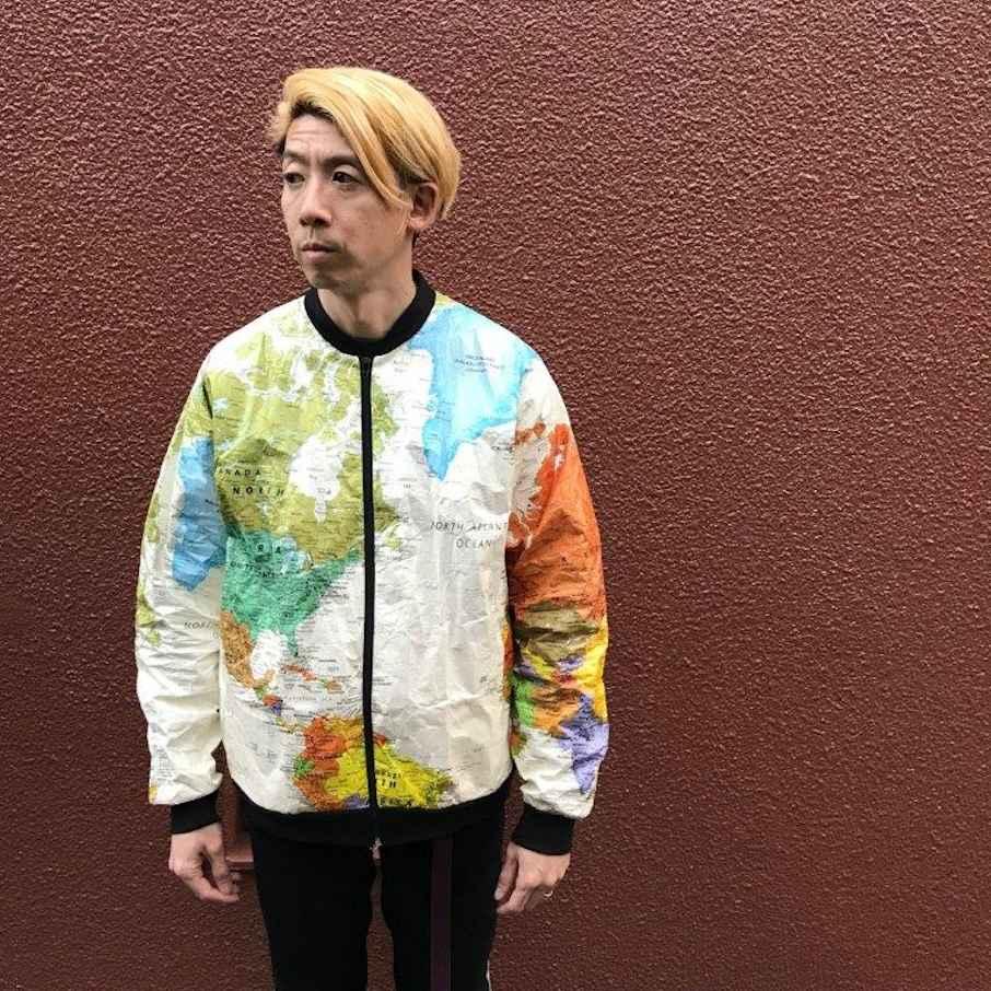 LESLIE JORDAN TYVEK WORLD MAP JACKET MADE IN USA FARMHOUSE京都