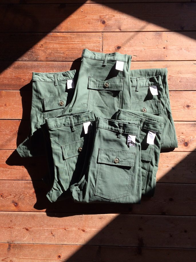 FARMHOUSE別注 EARLS APPAREL SLIM FIT FATIGUE PANTS OLIVE SATEEN MADE IN USA