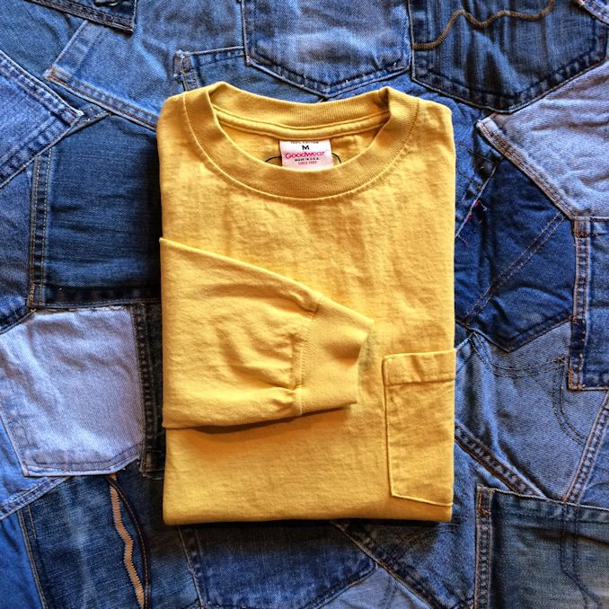 GOOD WEAR L/S POCKET TEE CITRON YELLOW MADE IN USA 取扱店 FARMHOUSE京都