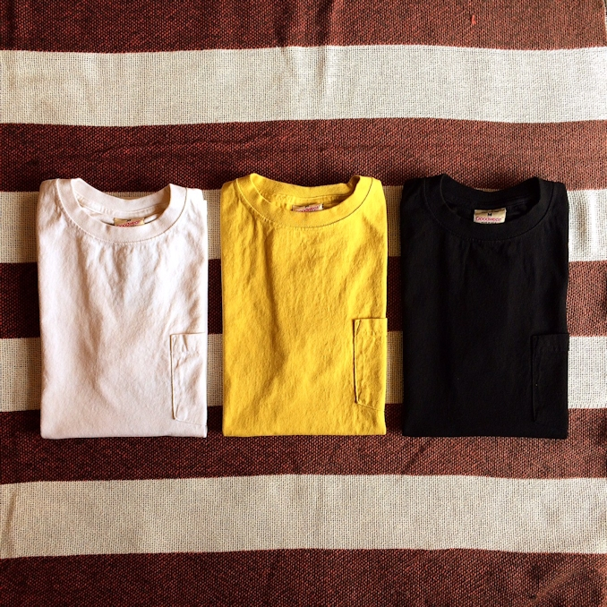 GOOD WEAR S/S POCKET TEE NATURAL CITRON YELLOW  BLACK MADE IN USA 取扱店 FARMHOUSE京都