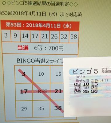 ビンゴ5予想当たった!第53回抽選で2ラインBINGOで当選!