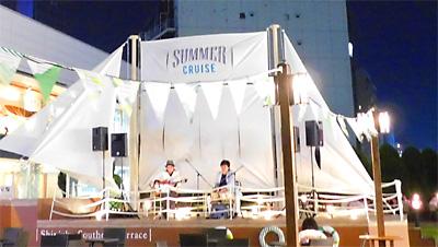 新宿サザンテラス ビアガーデン 佐伯モリヤス 高橋新 ライブ 特設ステージ 靴のひとり言 デリリウムカフェ 新宿 ベルギービール